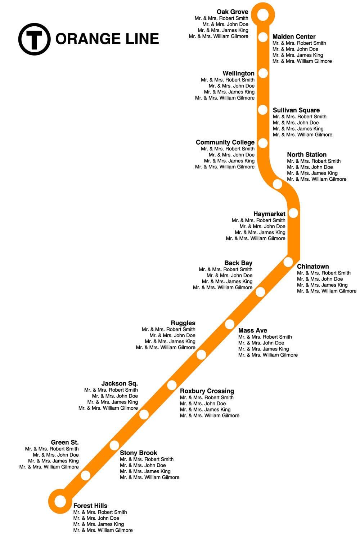 Boston Orange Line Wedding Seating Chart By WhitneyAndCompany