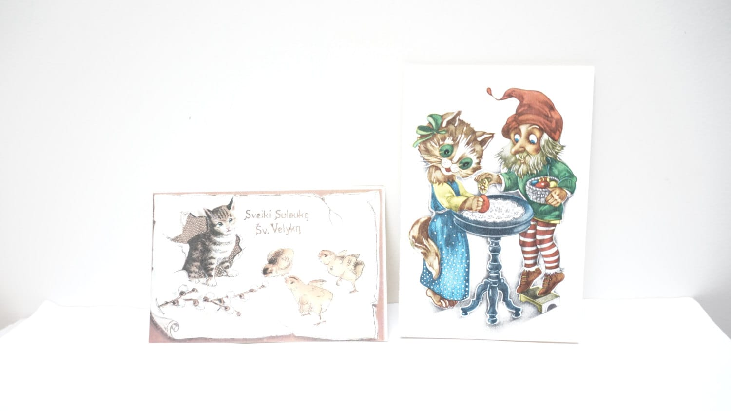 Easter Vintage postcards lot set of 2 Soviet Retro USSR  Russian year 1989 1990 Cat lover made in Lithuania - LivePastVintage