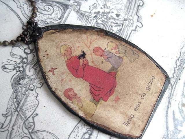 Full of Grace Are You.  Soldered Antique Picture Board Pendant.