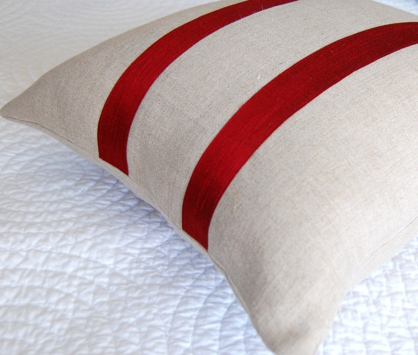 Silk Ticking Pillow Cover, Red and Oatmeal Linen 18 inch