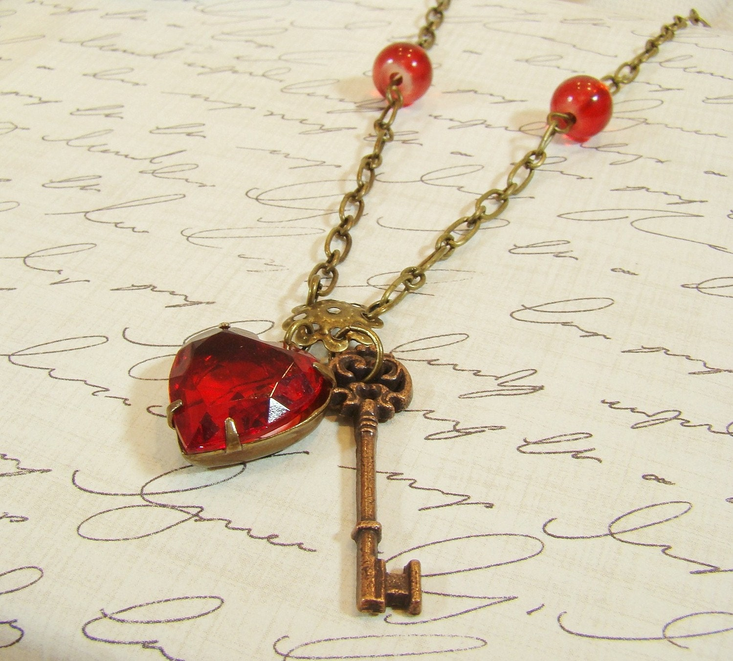 SALE Key to My Heart Vintage Ruby Red Heart with Antiqued Key Charm Necklace