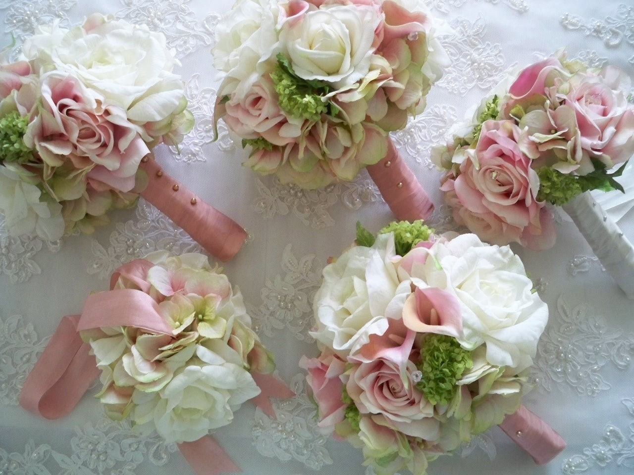 Bridal Flowers Blush Pink : Realtouch calla lillies blush pink green and by modagefloral