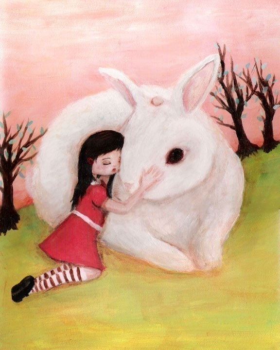 Girl and Bunny Print