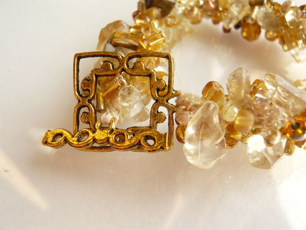 Golden Amber Crochet Bracelet - 3pearls