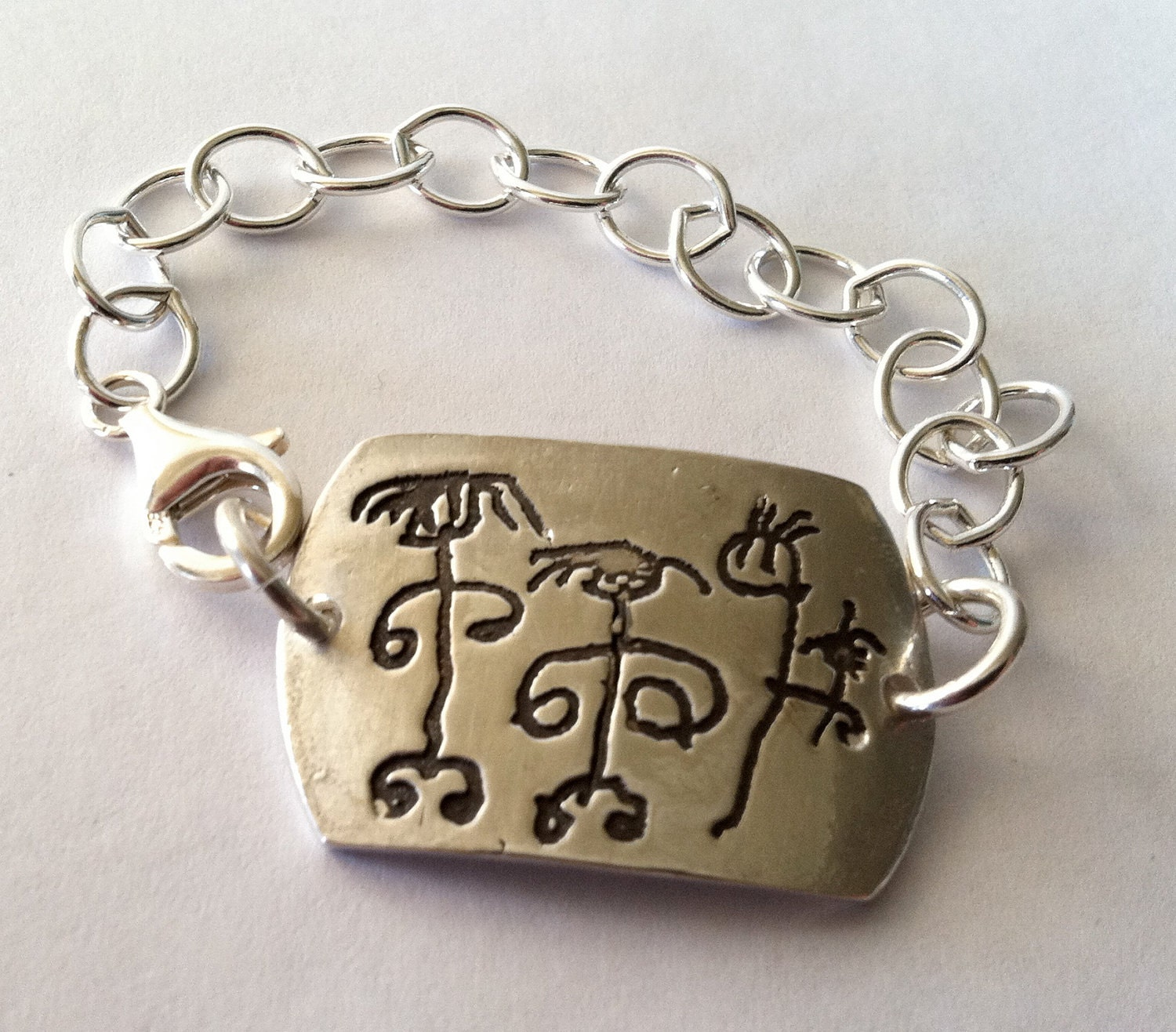 Your Child's Artwork ID Bracelet - Fine silver and Sterling silver-Made to Order