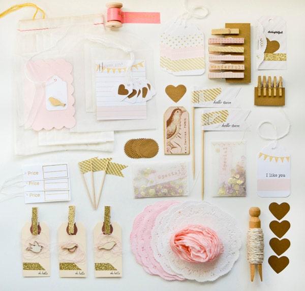 Handmade Pink Gold Gift Wrap Kit - ThurstonPost