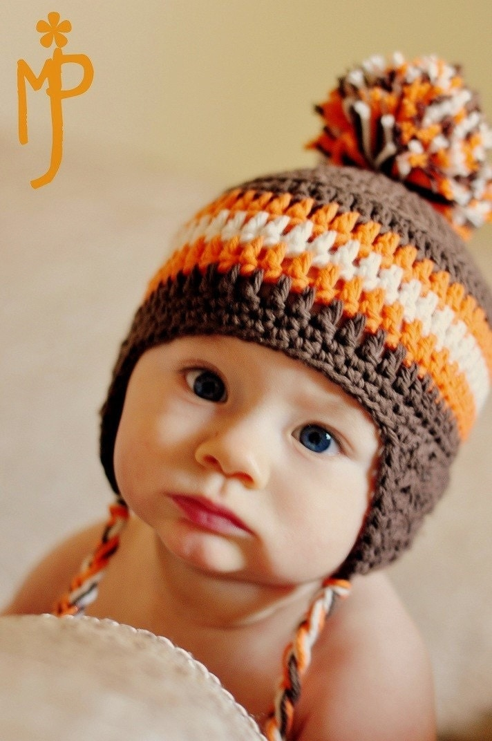 Free Crochet Patterns For Baby Hats For Beginners : Crochet BABY Ear Flap Hat with Tassels CUSTOM by ...