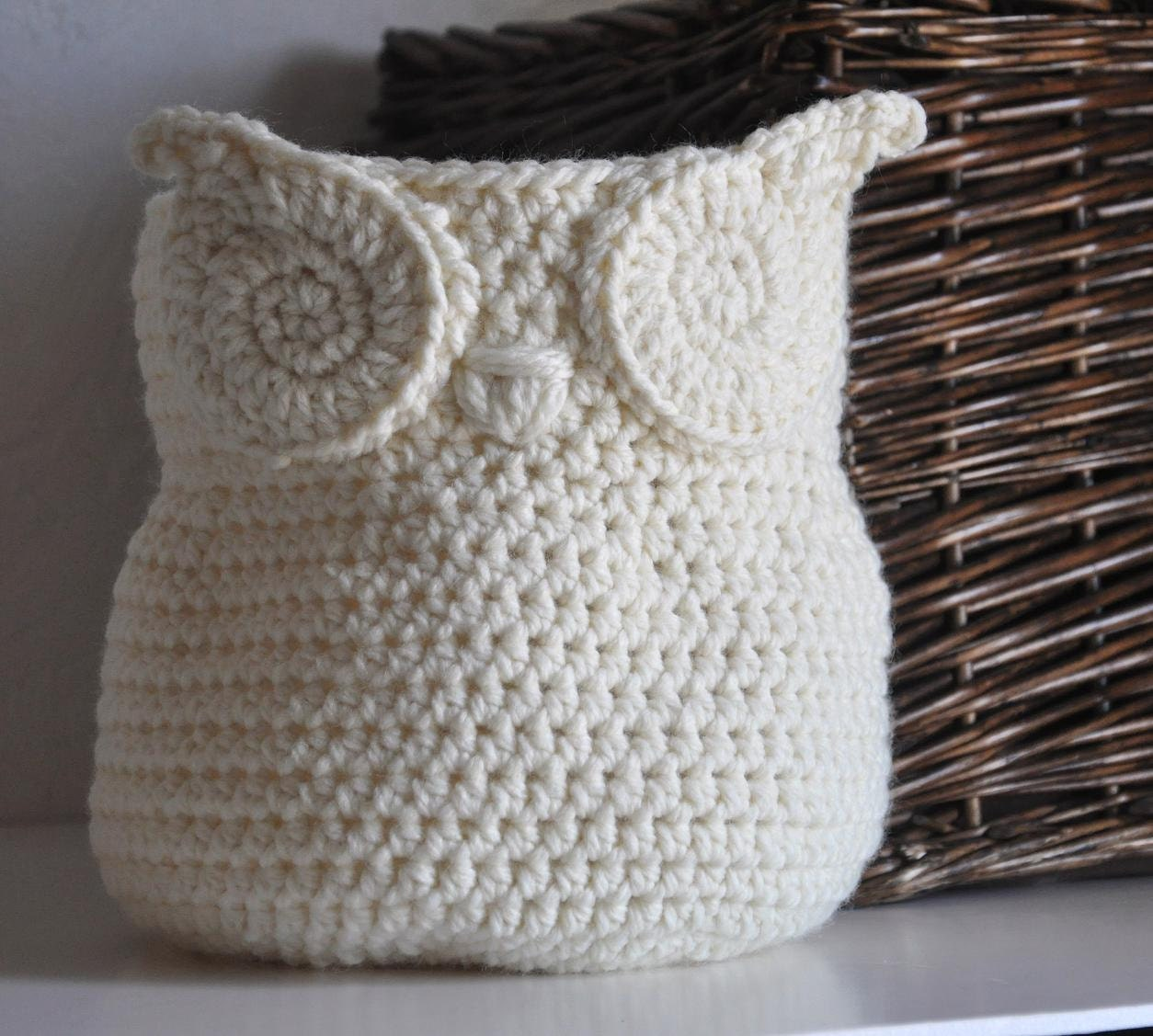Crochet Owl Basket : Owl Basket Crocheted Bin Yarn Holder Nursery Decor Home Organizer ...