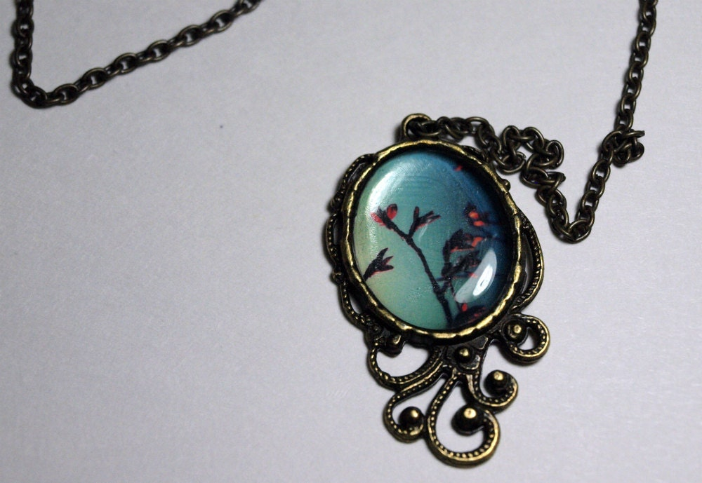 Pink Flowers Against the Blue Sky antique photographic pendant necklace
