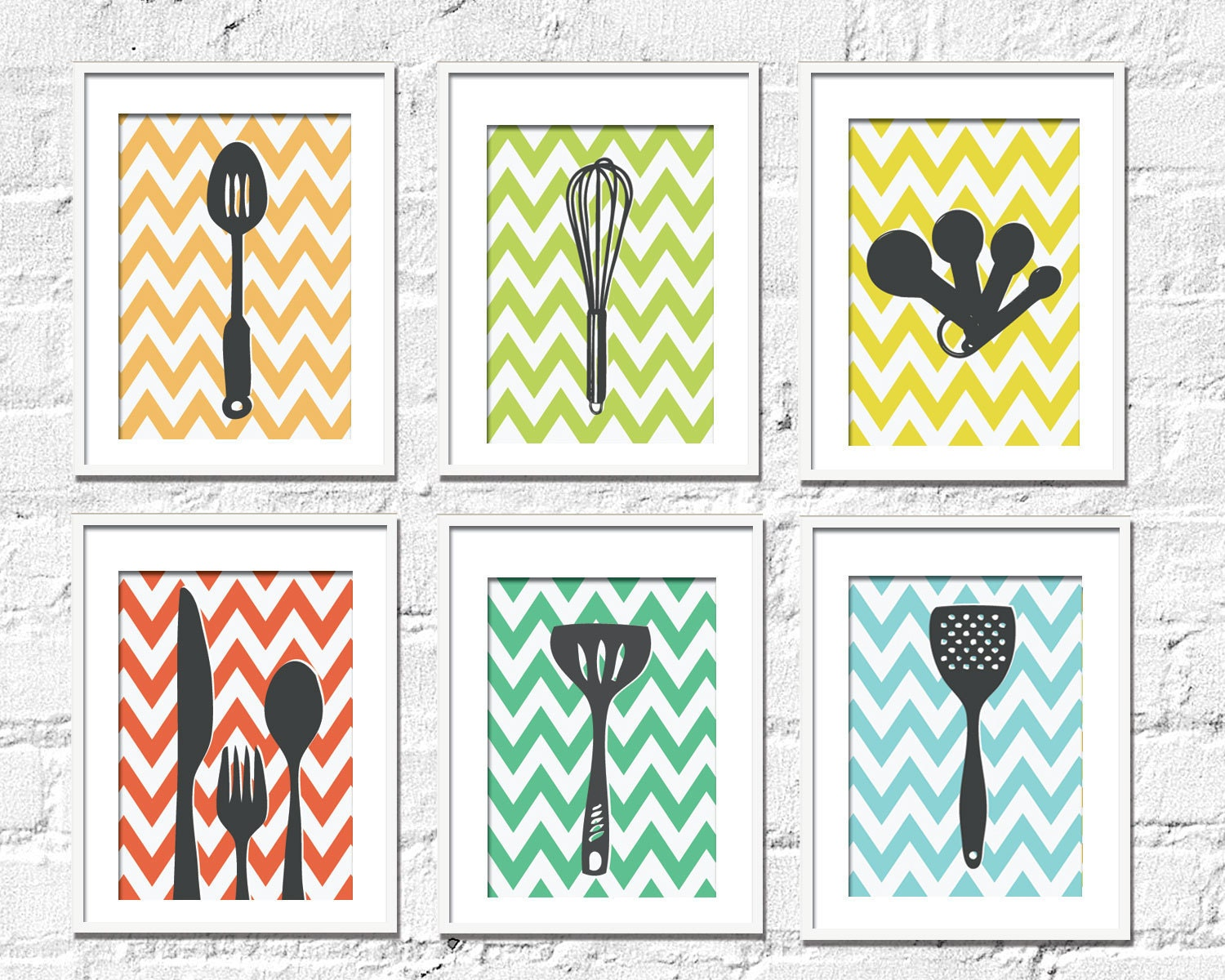 Kitchen Art Prints - Chevron Kitchen Set of 6- 8X10 Inches, Choose colors and custom sizes