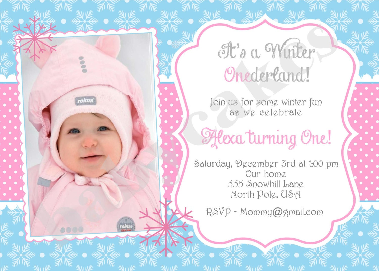 Winter Onederland Birthday Party Invitations for good invitation layout