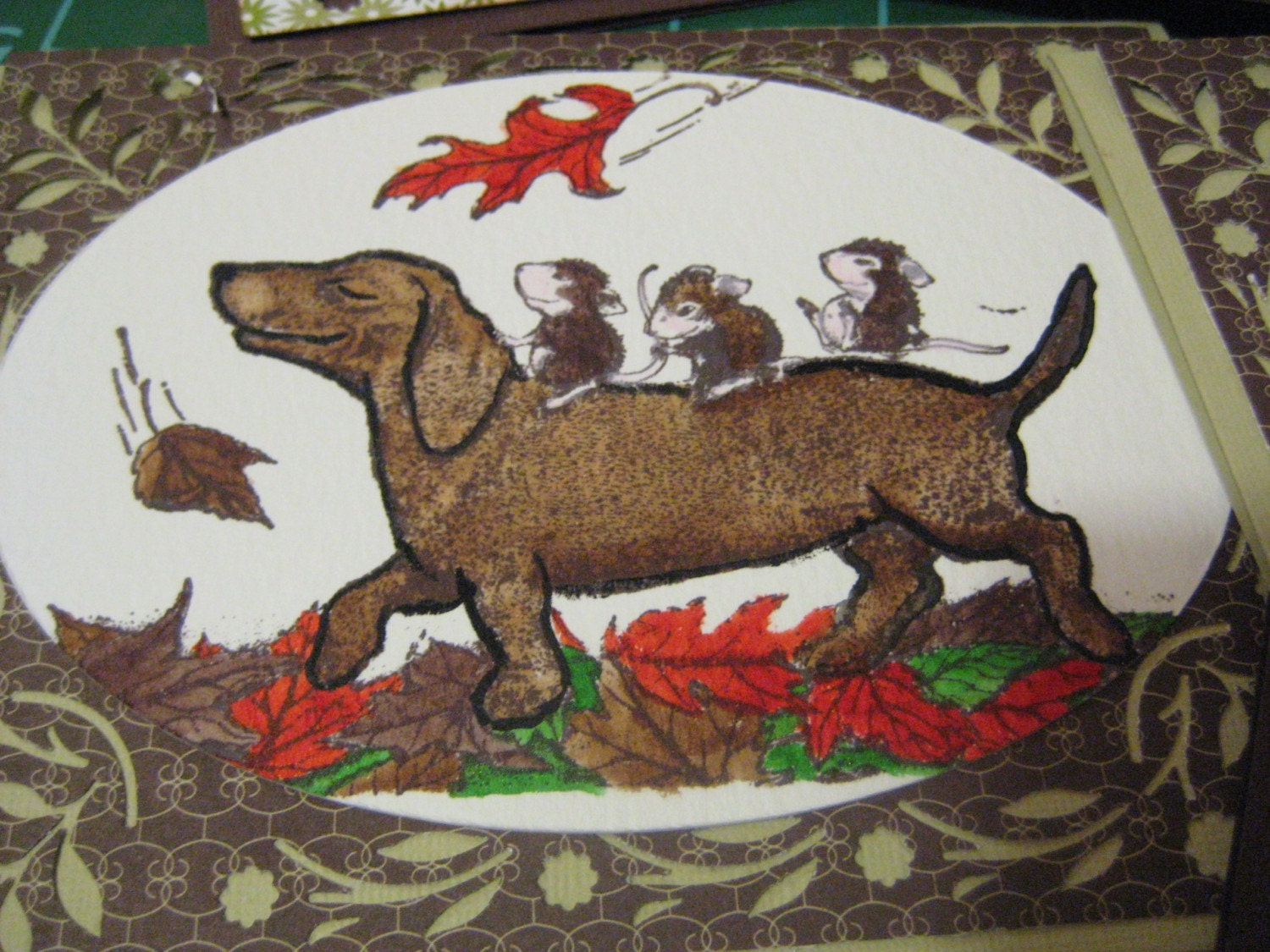 Dachshund in the Leaves Cards Set of 5