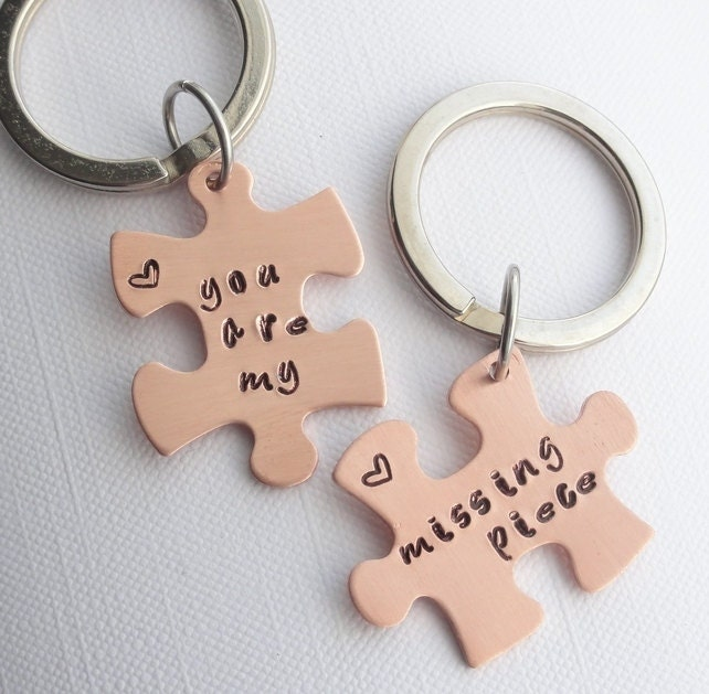 2 Personalised Copper Puzzle Jigsaw Keyrings  Names Dates Designs Words  You are My Missing Piece