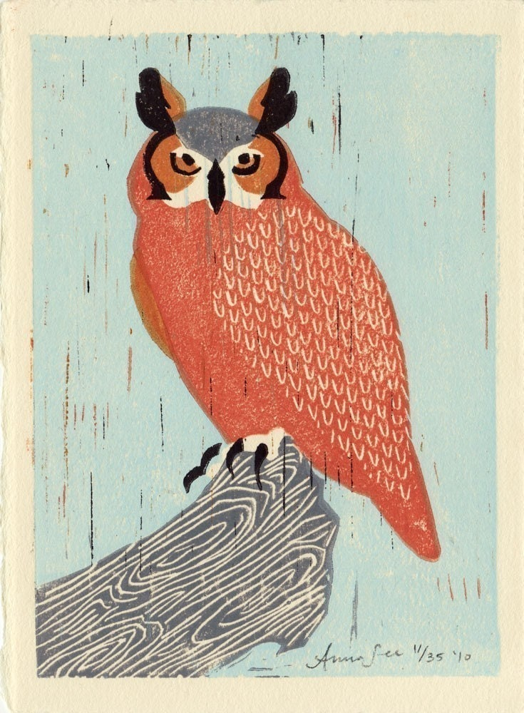 GREAT HORNED OWL loose block print