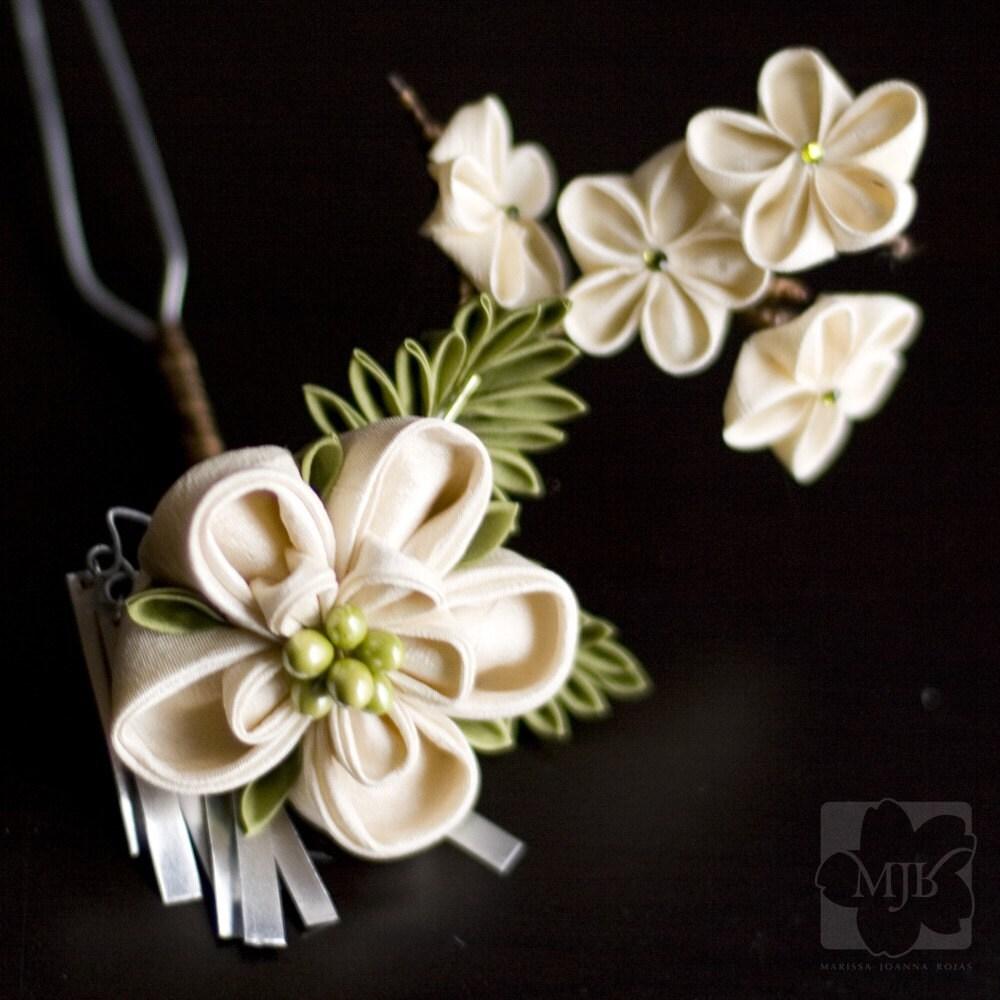 Ivory Garden Fabric Flower Kanzashi OOAK