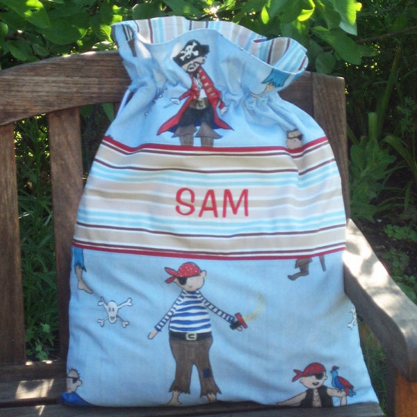 Childs Blue Pirates Personalised Toy Sack Reversible Kids Blue Drawstring Storage Bag Handmade in Pure Cotton and Fully Lined