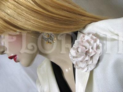 Seashell Gardenia Wedding Dress Pin Silk Flower Bridal by Floretii bridal