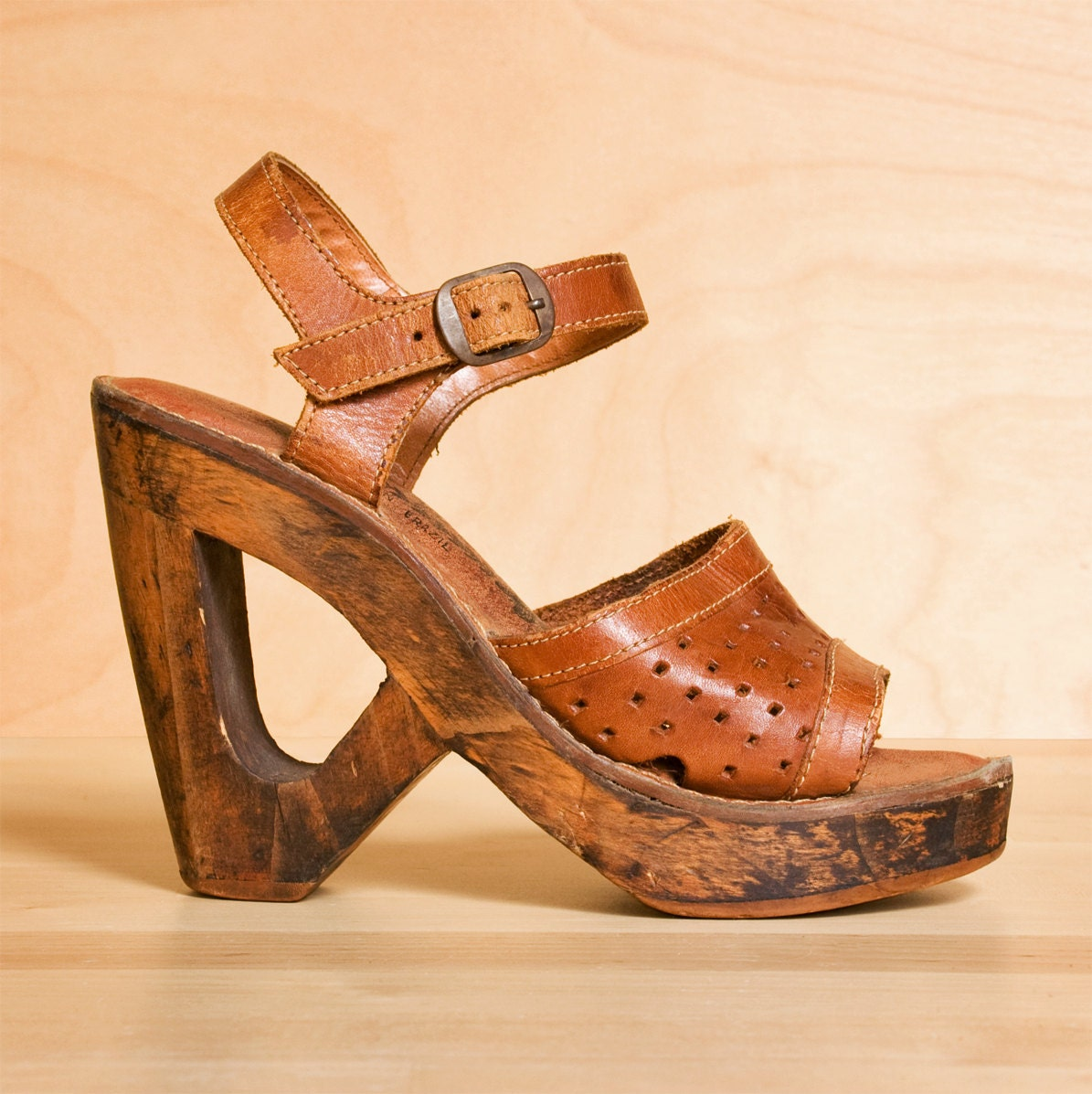 1970s wood platform shoes distressed whisky leather by