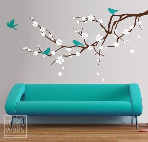 Cherry blossom branch wall decal blossoming almond by for Appliqu mural autocollant