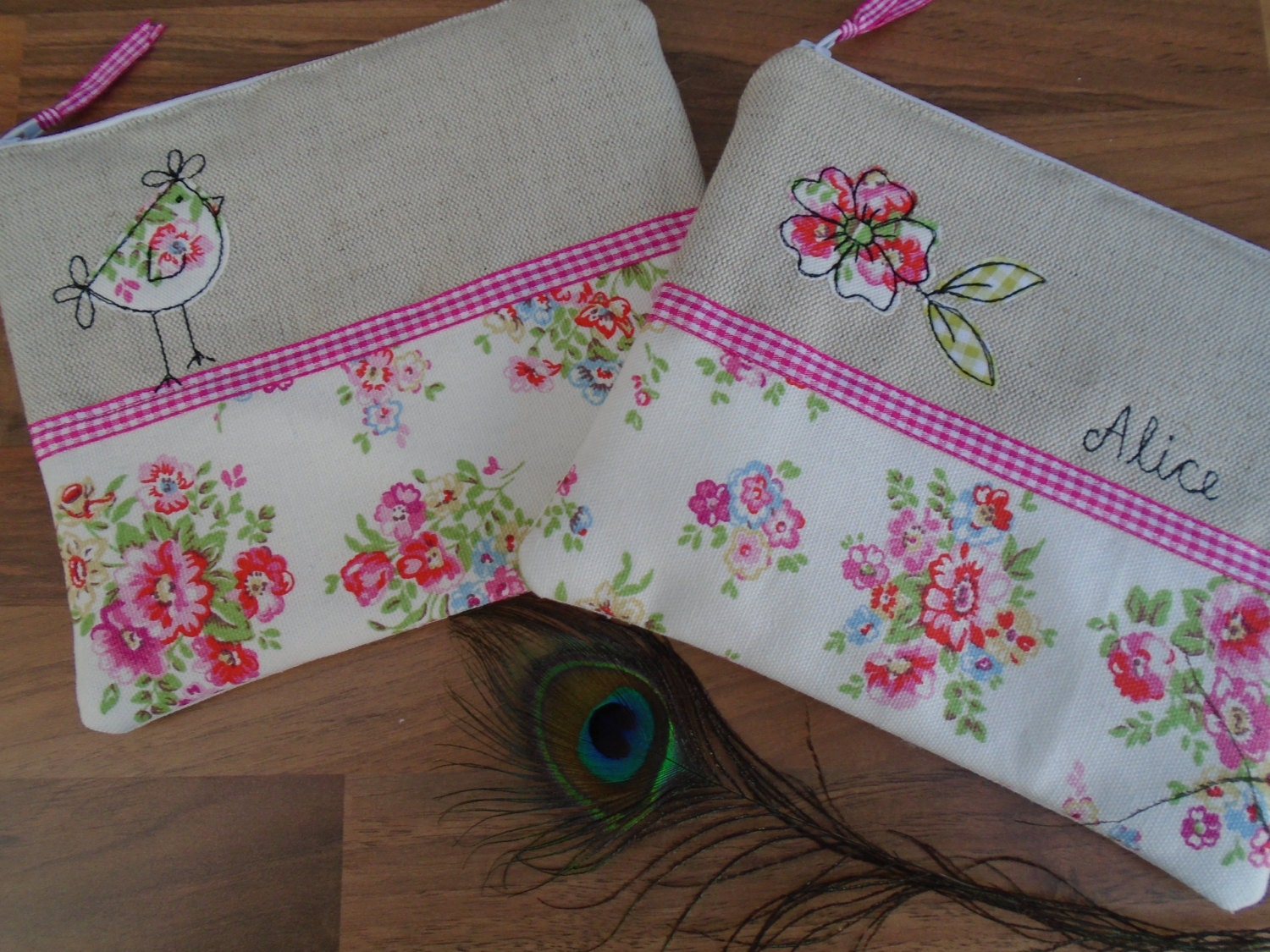 Handmade Cosmetic Makeup Bag or Large Purse with option to personalise Choice of Hen or Flower Applique Cath Kidston White Floral fabric