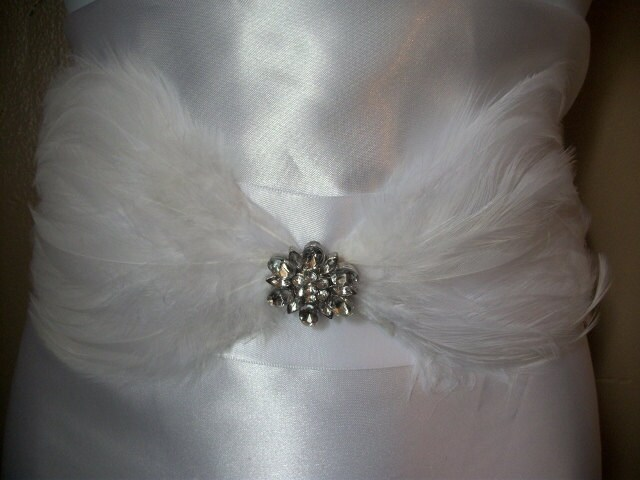 Glam White Feather and Rhinestone Brooch Bridal Sash