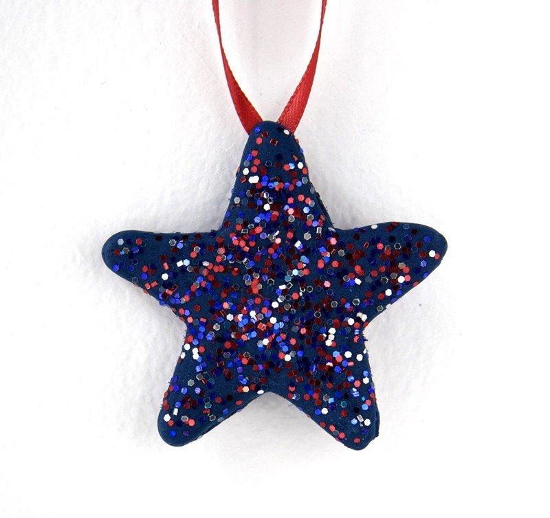 Ornament Star Navy Blue UNIQUE Sugar Craft Hand Piped Patriotic Glitters / Hope / UNITY / Christmas / Patriotic Home Decor/ USA Voting 2012 - TheHappyPiper