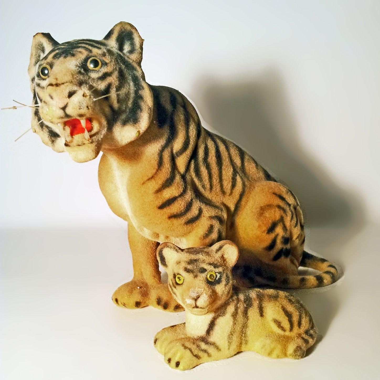 Vintage Flock Velvet Tiger Cub. 20th Century Fuzzy Flock Safari Animals. Retro Collectible Decorative Display Ornament Toy Figurines