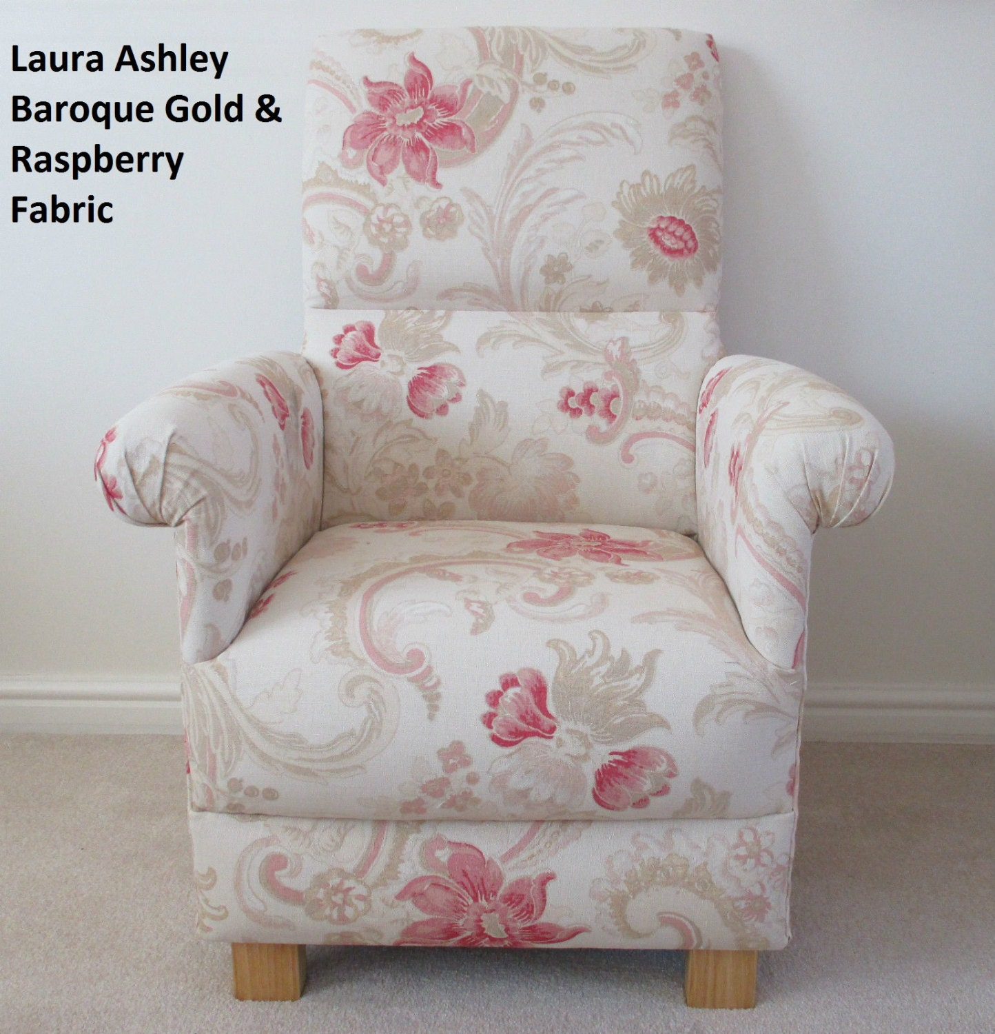 Laura Ashley Baroque Raspberry Fabric Adult Chair Gold Cream Bedroom Red Beige Nursery Lounge Bespoke Handcrafted