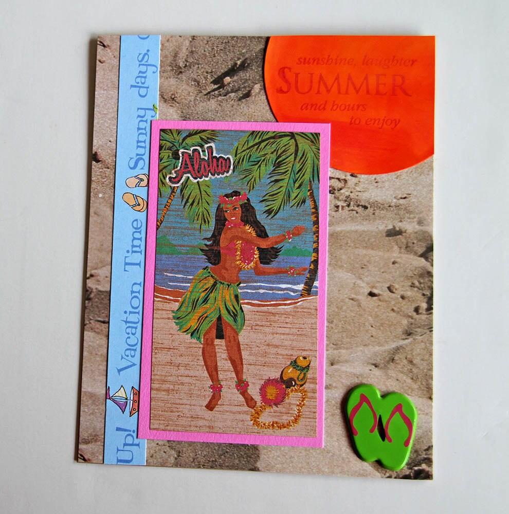 Самодельная открытка о летнем отдыхе на Гаваях