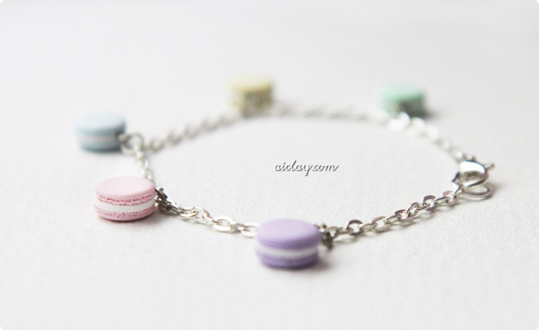 Shades of a pastel rainbow - Macaron Charm Bracelet - AiClay