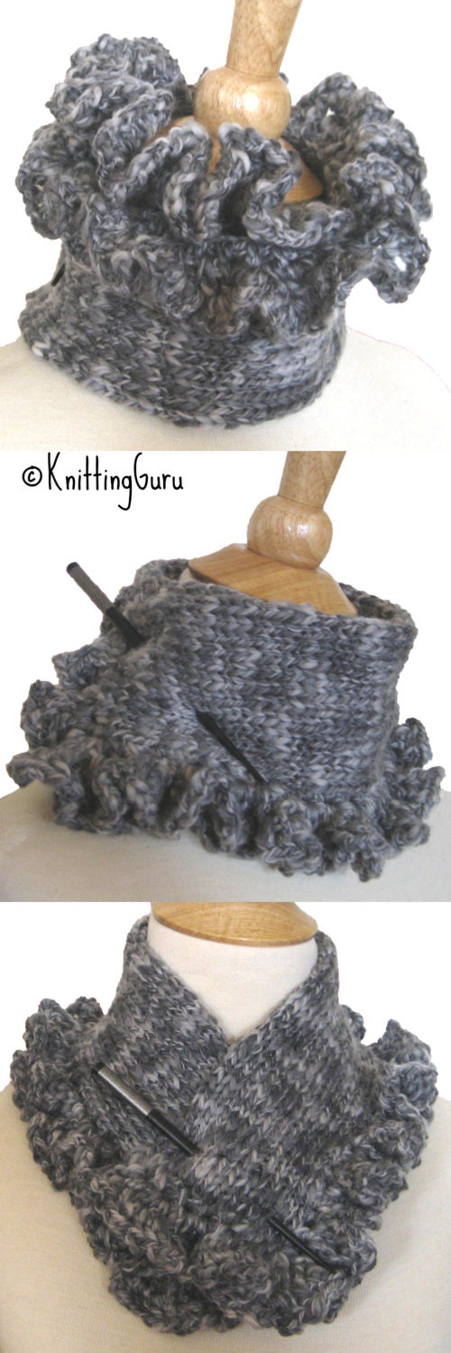 Gray Wool Knit Cowl Scarf Collar with Ruffles