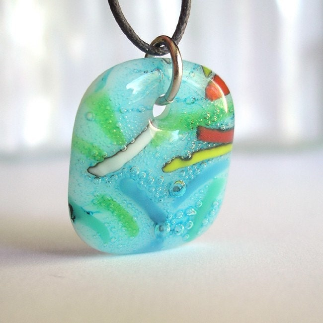 Sprinkles on Aqua Bubbles. A fused glass pendant necklace.