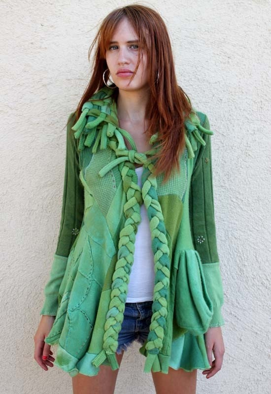 kelly green handmade cashmere cardigan