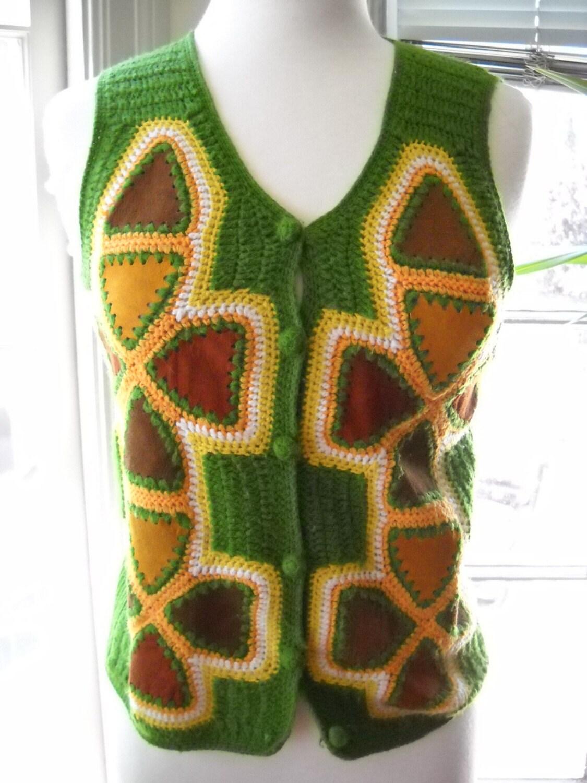 Vintage Olive Green knit patch hippie chic boho vest sm