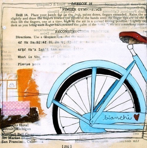 Reproduction Art Print 8x10-I Heart My Bike