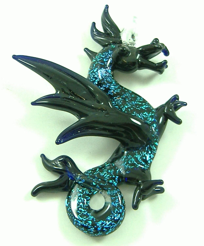 Blue Dichroic Dragon Pendant Hand Blown Glass