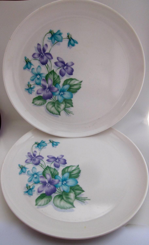 1950s Melmac Purple Flowers & Vintage Plastic Melmac Dinnerware History Melamine : Marcrest ...