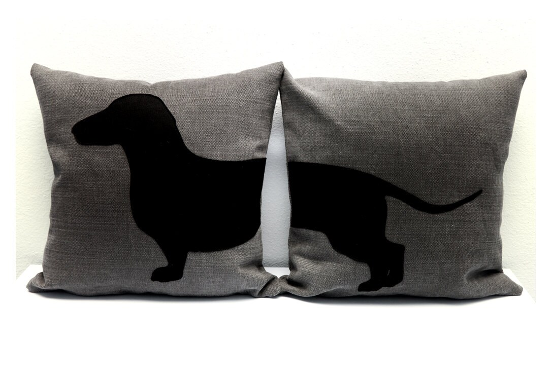 sausage dog pillow covers grey and black dog by itstimetodream