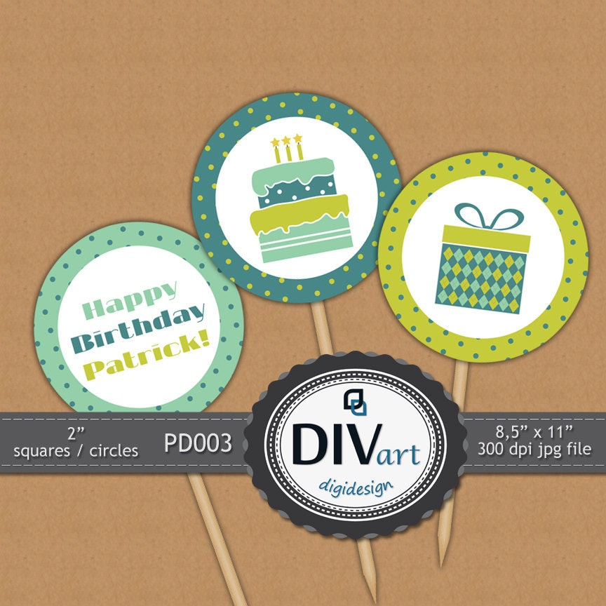 "PRINTABLE Party Decorations PD003 - 2"" squares/circles - Birthday Party for a Boy  - party picks, cupcake toppers, gift tags, stickers..."
