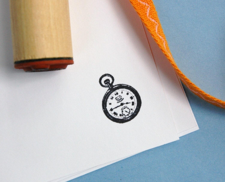 Pocket Watch Rubber Stamp