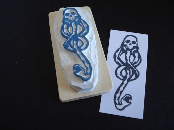 Harry Potter Dark Mark tattoo rubber stamp. From dragonflycurls