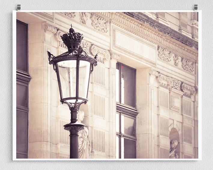 Paris photography - Louvre Lamp post - Paris photo,Fine art photography,Paris decor,8x10 wall art,white,Fine art prints,Art Posters,Under30 - coloron