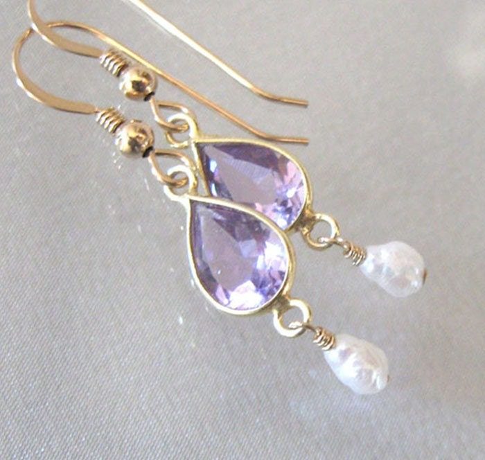 Amethyst & Pearl Gemstone Earrings Teardrop by sendinglovegallery from etsy.com