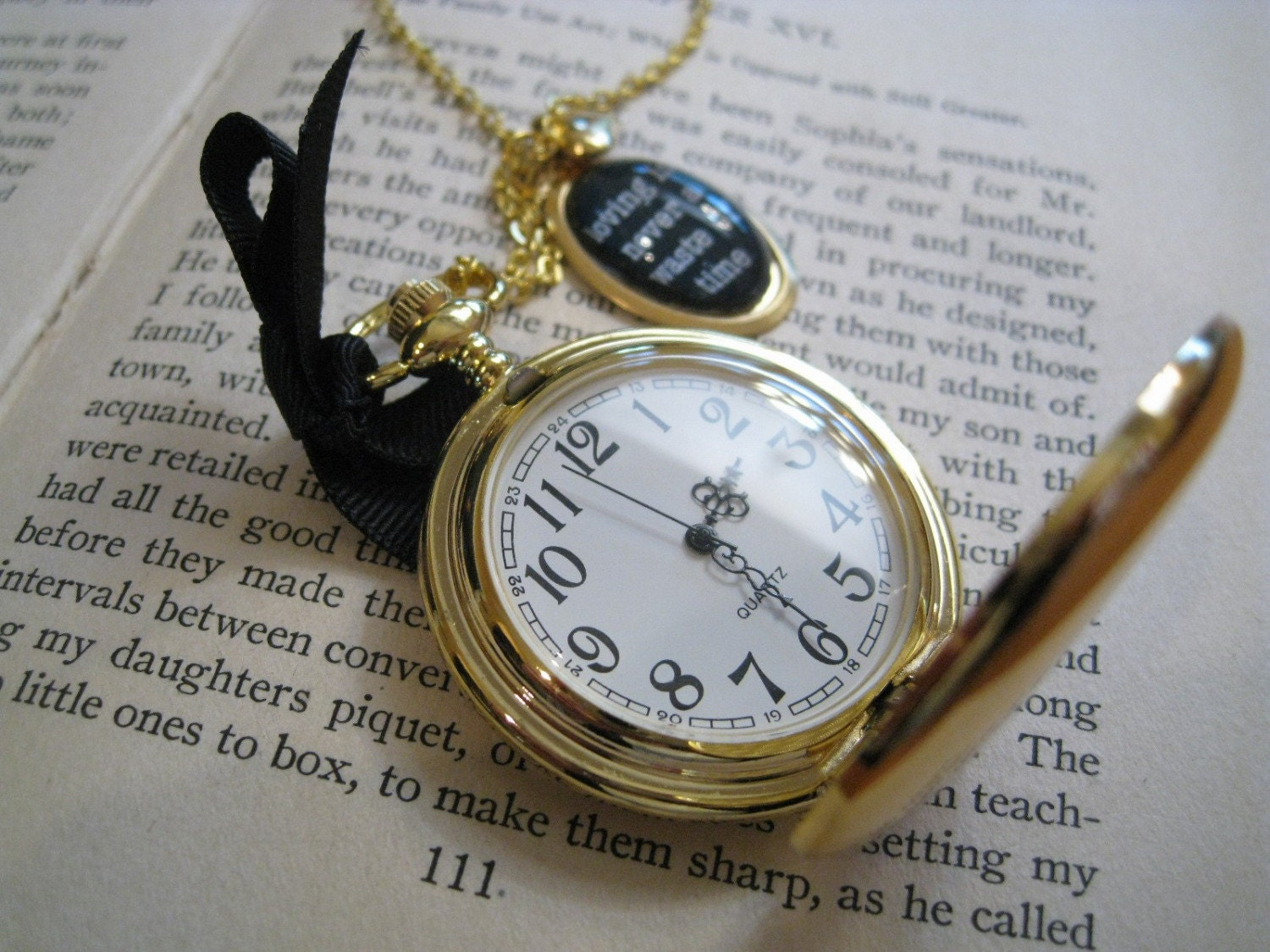 Loving is Pocket Watch Necklace Golden