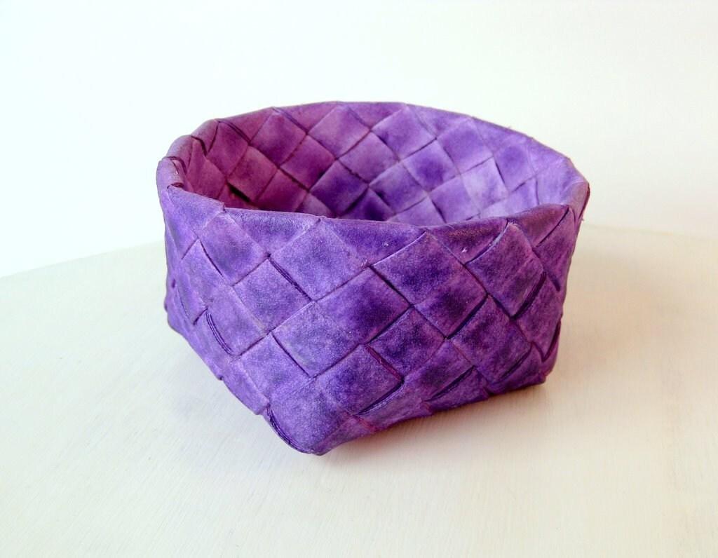 Basket handwoven plaited purple unique