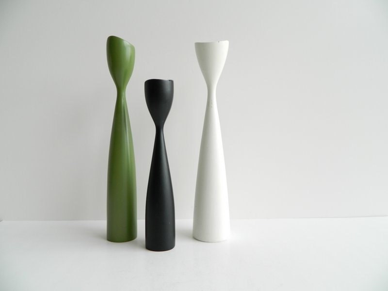 trio of danish modern turned wood candlesticks white green and black - MonkiVintage
