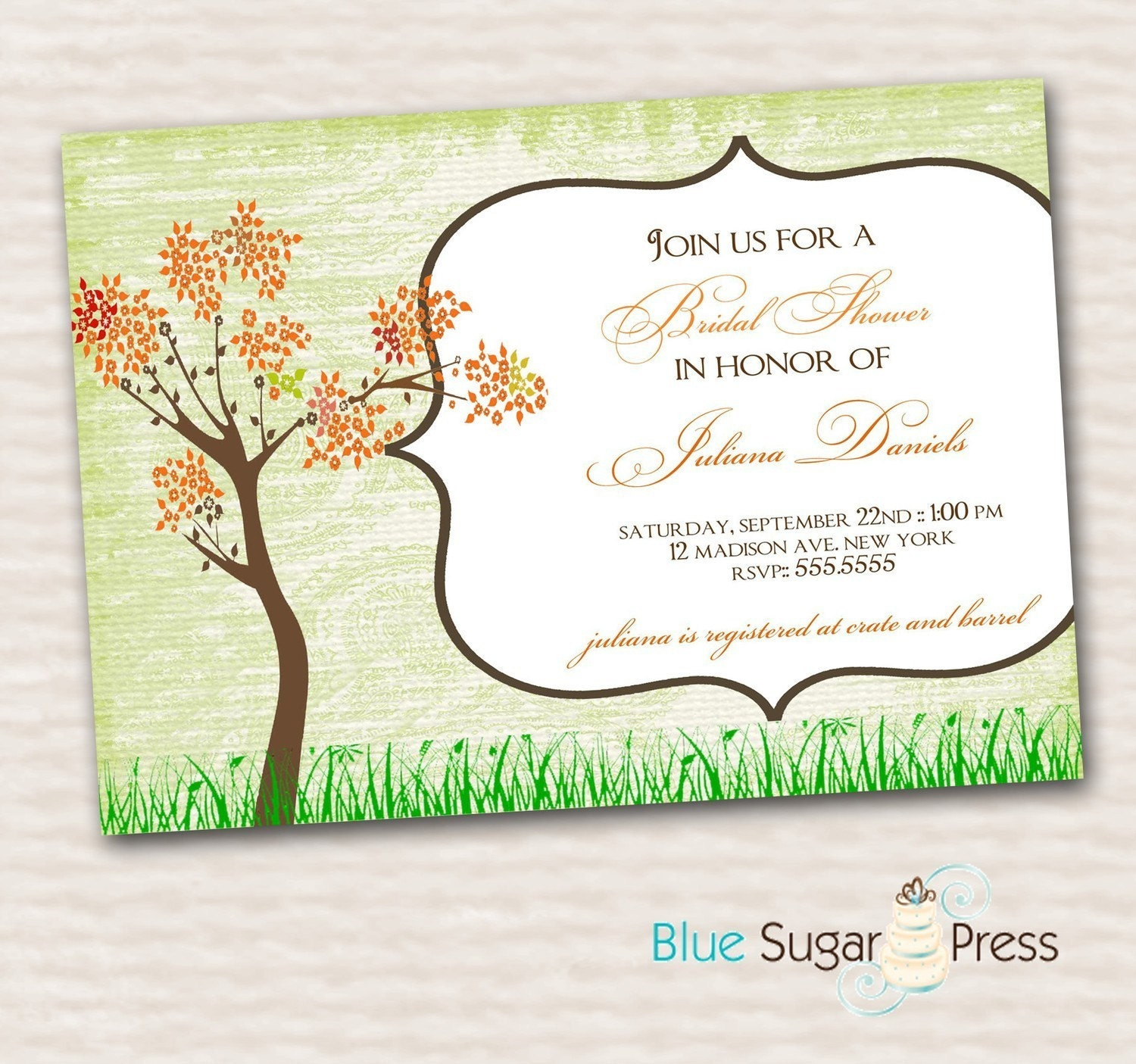 Printable Bridal Shower Invitations, Wedding Invitations, Fall Tree ...