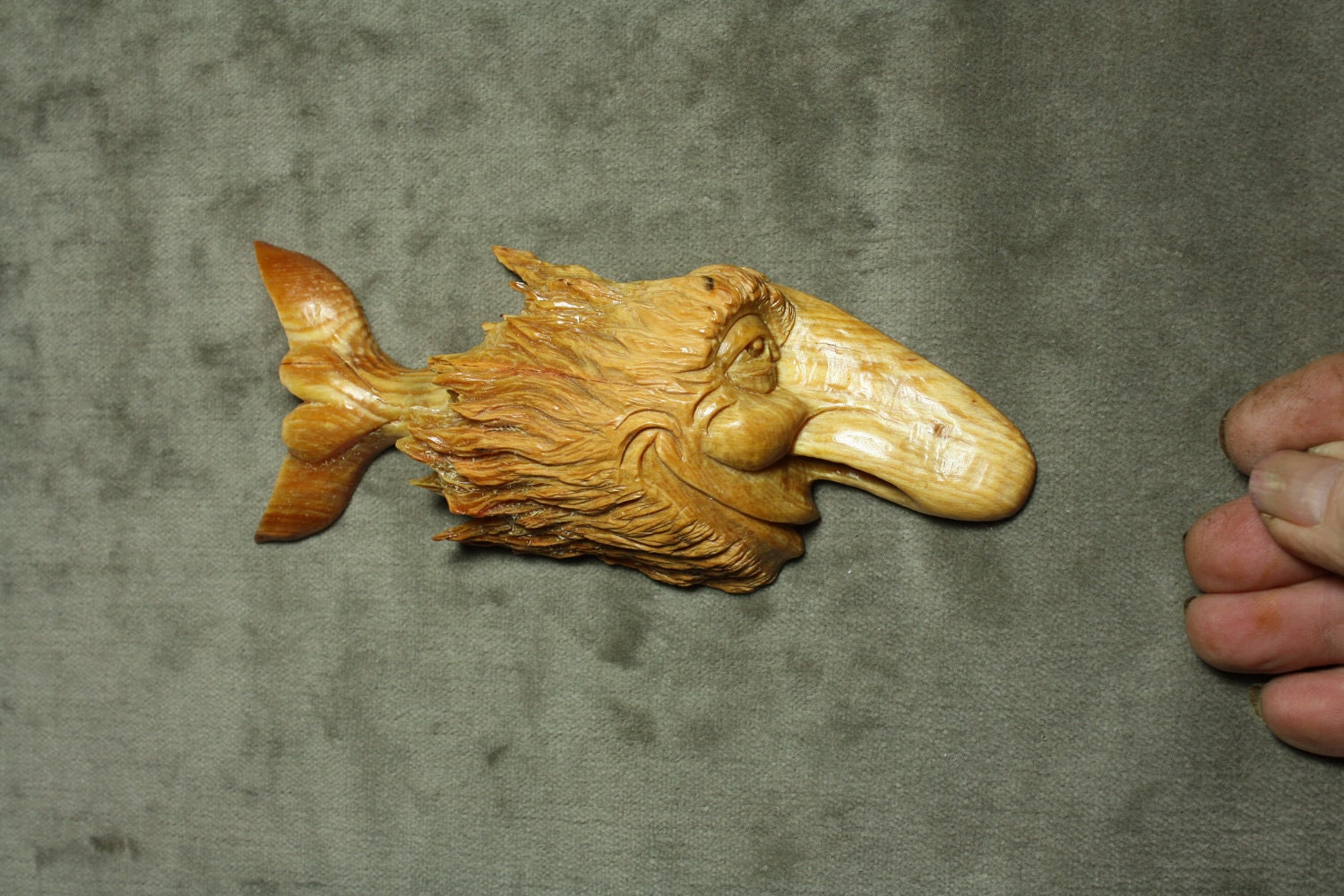 Christmas gift wood carving fish art rustic by