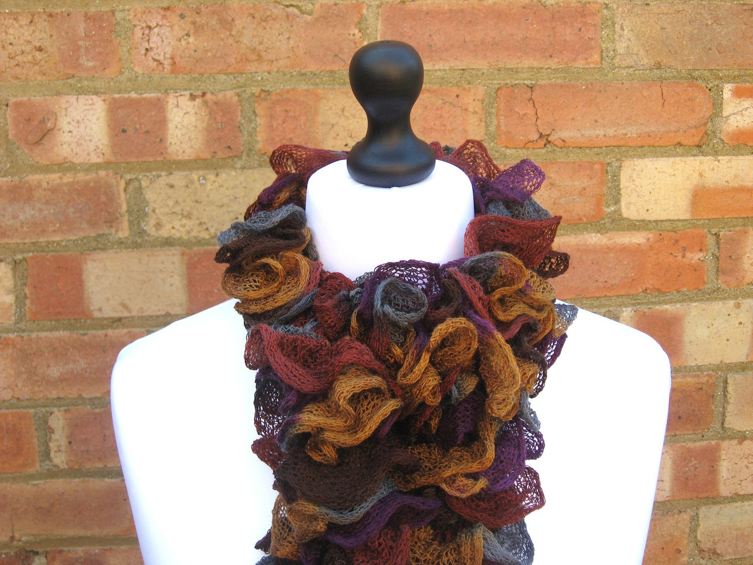 Ruffle Scarf  Brown Blue Burgundy Amber Hand Knit Scarf Fall Fashion Ruffled Scarf - LookingGlassDesigns1