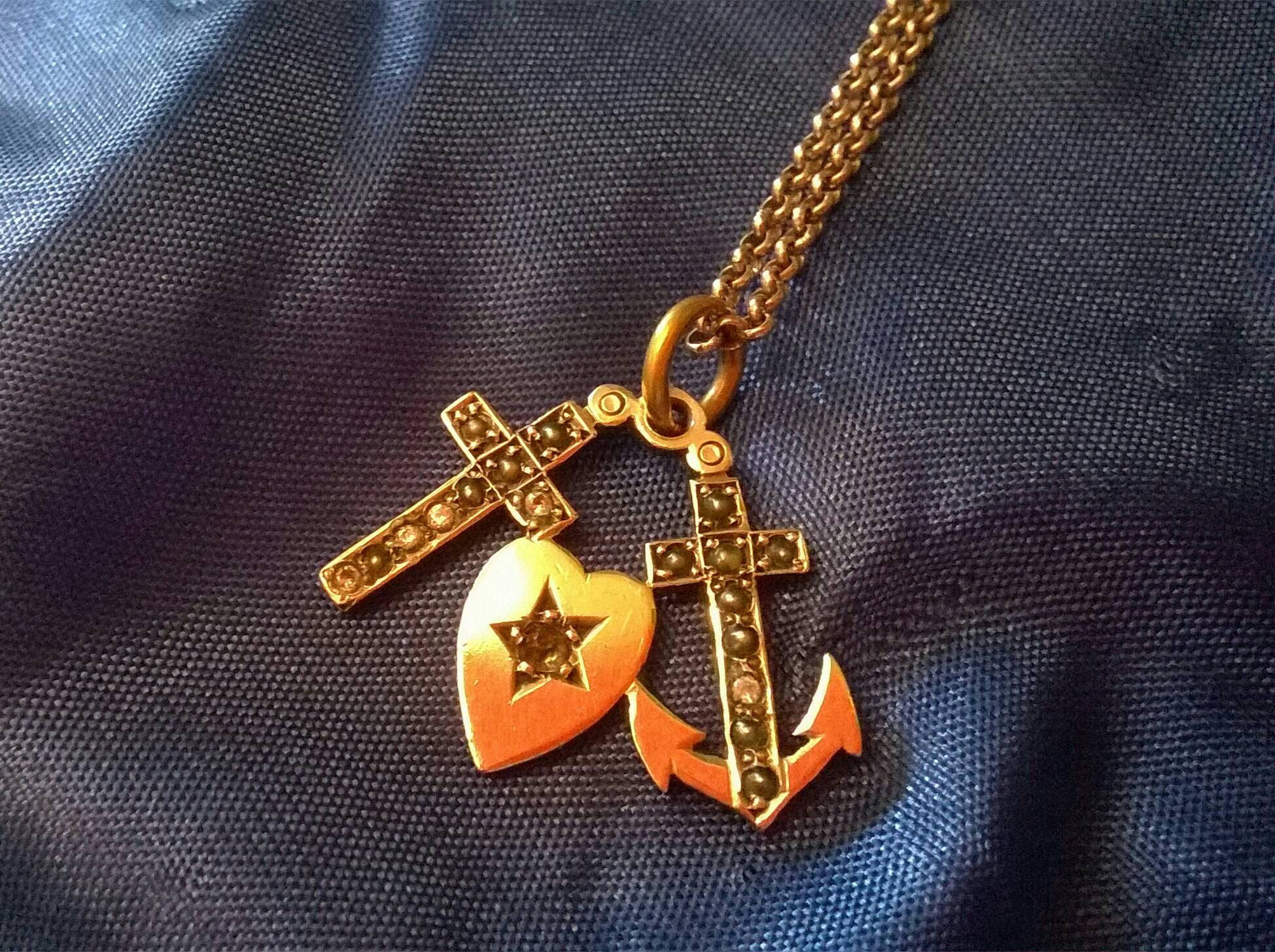 Wonderful Victorian Faith Hope  Charity charm necklace seed pearl and paste sterling silver anchor heart